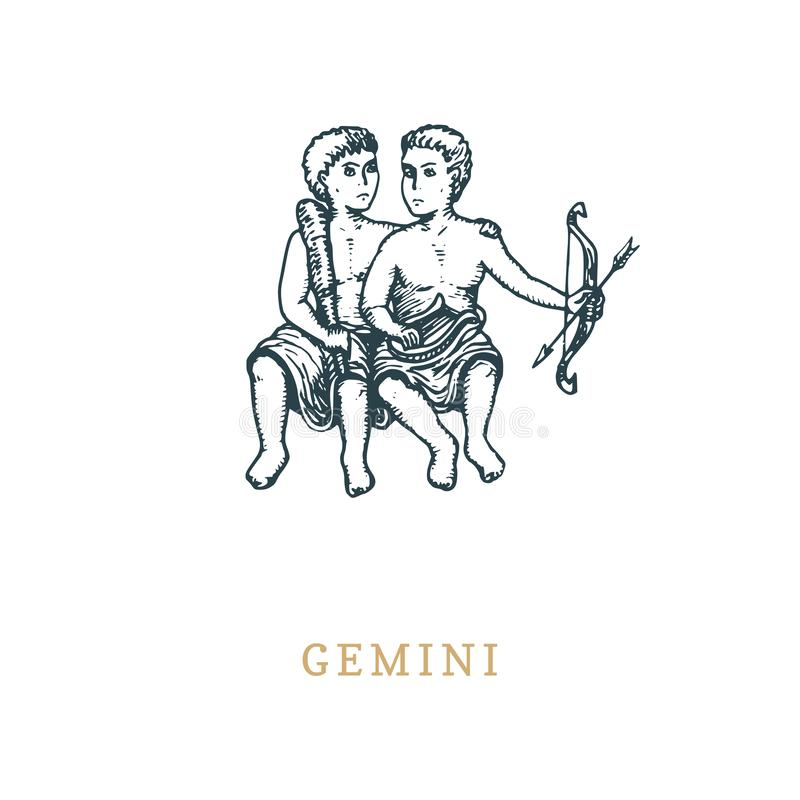 Gemini zodiac symbol, hand drawn in engraving style. Vector graphic retro illustration of astrological sign Twins . stock illustration