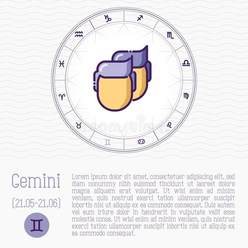 Gemini in zodiac wheel, horoscope chart. With place for text. Thin line vector illustration vector illustration