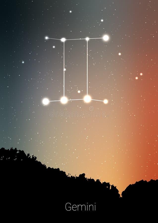 Gemini zodiaka gwiazdozbiory podpisują z lasu krajobrazu sylwetką na pięknym gwiaździstym niebie z galaxy i interliniują behind ilustracji