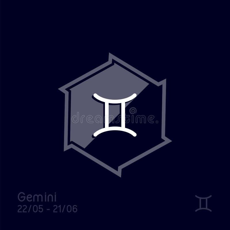 Gemini zodiaka znak Astrologia symbolu wektoru ilustracja ilustracji