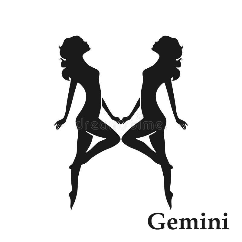 Gemini zodiaka znaka horoskopu symbol odosobniona astrologiczna ikona w prostym stylu royalty ilustracja