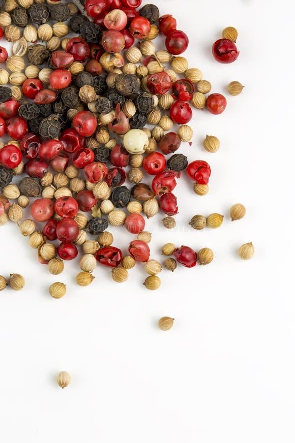 Gemischt von den Pfeffern hei?, rot, schwarz, vom Wei? und von gr?nem Paprika lokalisiert auf wei?em Hintergrund Beschneidungspfa stockbild