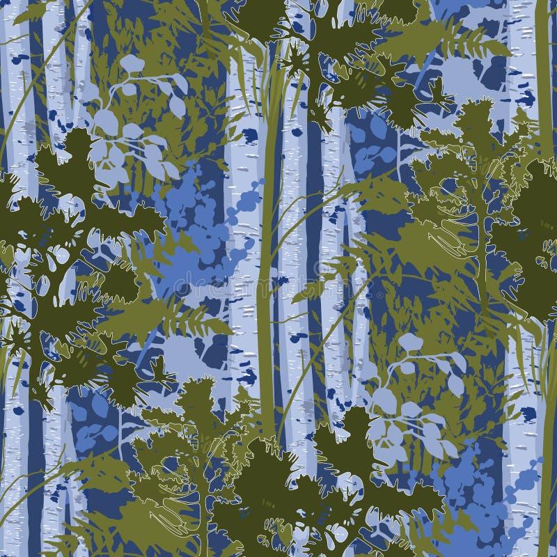 Gemischtes Wald-lanscape von Tannenbäumen, von Suppengrün und von Büschen vektor abbildung