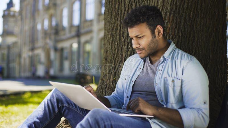 Gemischtrassiger Student, der unter Baum mit dem Laptop, Abschlussarbeit überprüfend sitzt lizenzfreies stockfoto