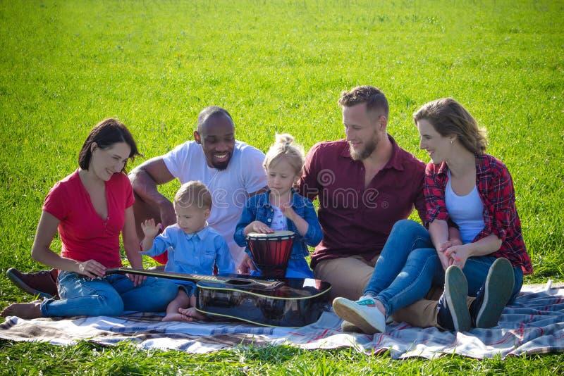 Gemischtrassiges Picknick der Familie mit Musikinstrumenten stockfotografie
