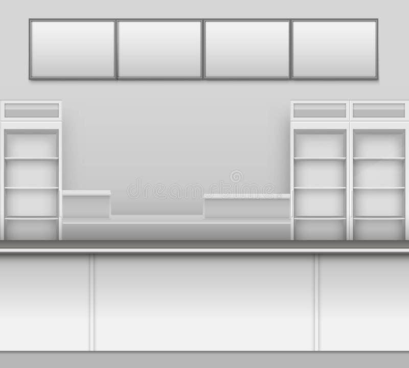 Gemischtwarenladen-Bar-Café-Bier-Cafeteria-Schnellimbiss-Zähler-Schreibtisch-Innenraum-Außenschaukasten-Vektor vektor abbildung