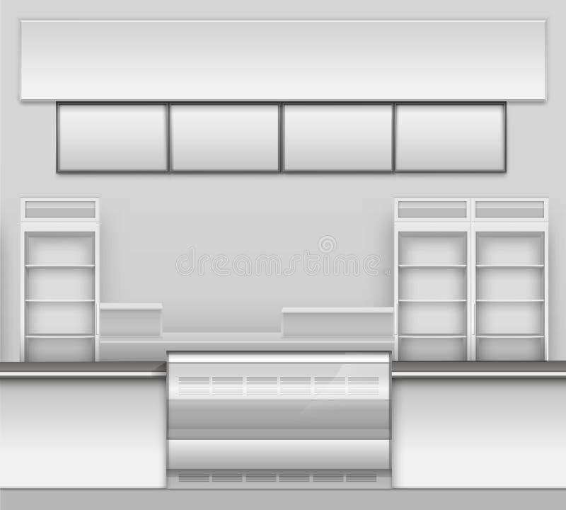 Gemischtwarenladen-Bar-Café-Bier-Cafeteria-Schnellimbiss-Zähler-Schreibtisch-Innenraum-Außenschaukasten-Vektor stock abbildung