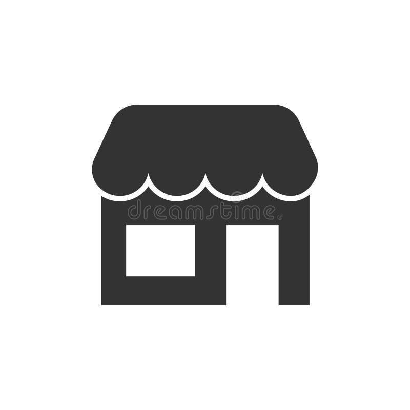 Gemischtwarenladenikone in der flachen Art Bürogebäudevektorillustration auf weißem lokalisiertem Hintergrund Marktboutiquen-Gesc vektor abbildung