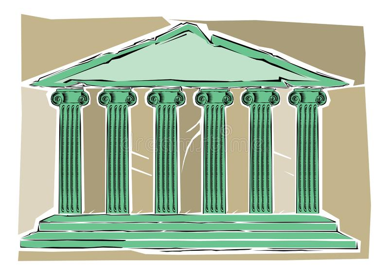 Gemkonst av en illustration av en gammalgrekiska eller en romersk tempel med kolonner eller pelarbyggnad royaltyfri illustrationer