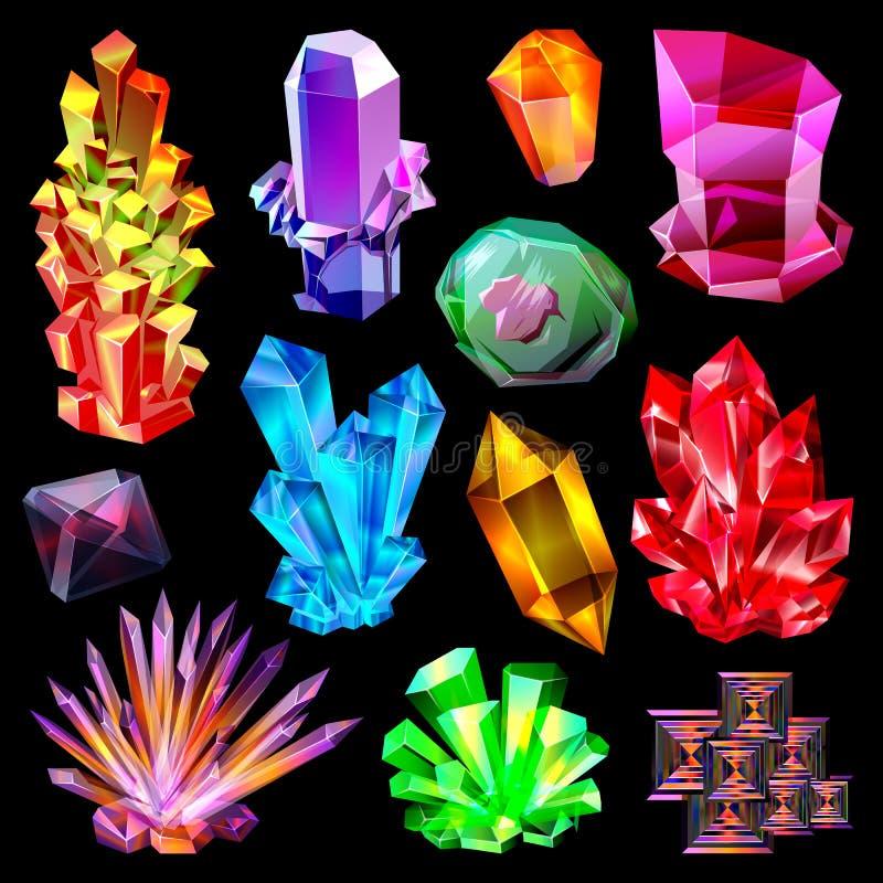 Gemma di pietra cristallina di vettore di cristallo e pietra preziosa preziosa per l'insieme dell'illustrazione dei gioielli del  royalty illustrazione gratis
