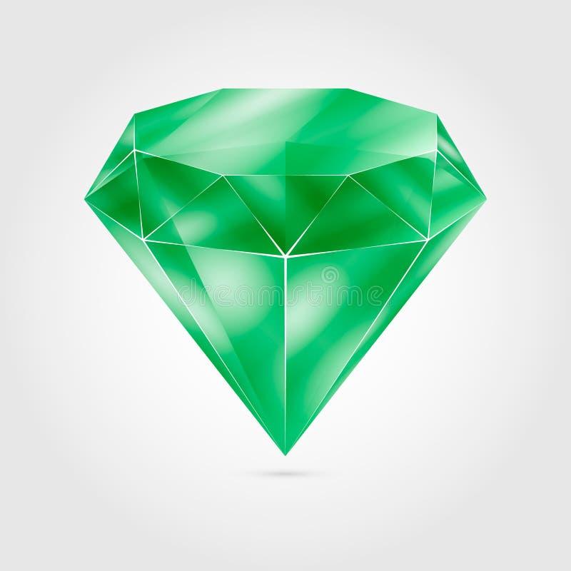Gemma rotonda verde realistica - smeraldo illustrazione di stock