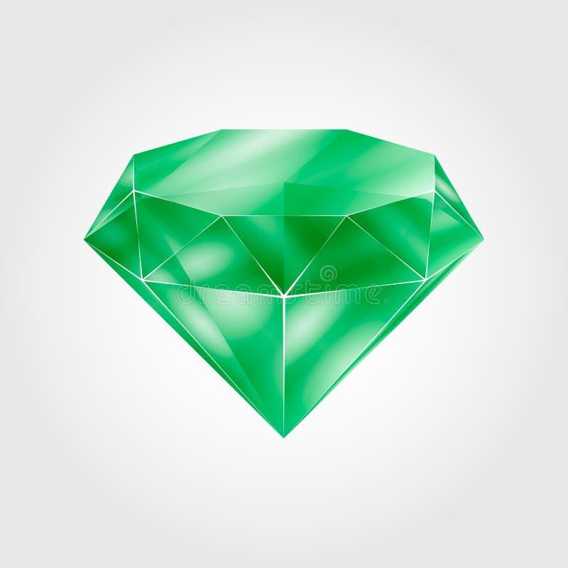 Gemma rotonda verde realistica - verde smeraldo su fondo grigio chiaro illustrazione vettoriale