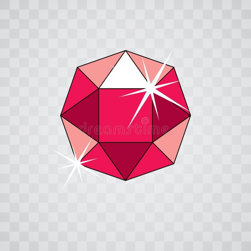 Gemma scintillante elegante di vettore Icona lucida del diamante, simbolo sfaccettatura royalty illustrazione gratis