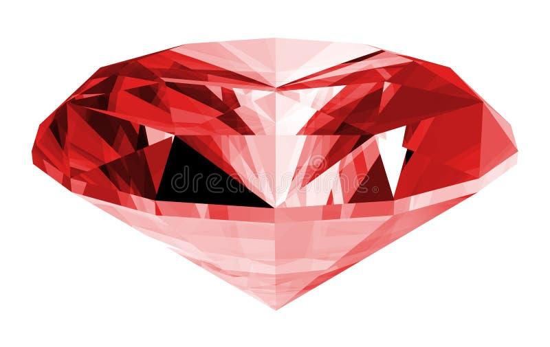gemme 3d rouge d'isolement illustration stock