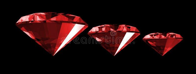 gemme 3d rouge d'isolement illustration de vecteur