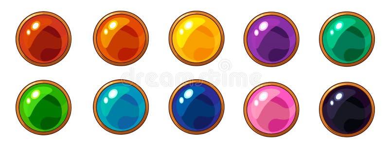 Gemme ronde color?e brillante avec l'ensemble d'or de cadre pour le design de l'interface mobile de jeu illustration libre de droits