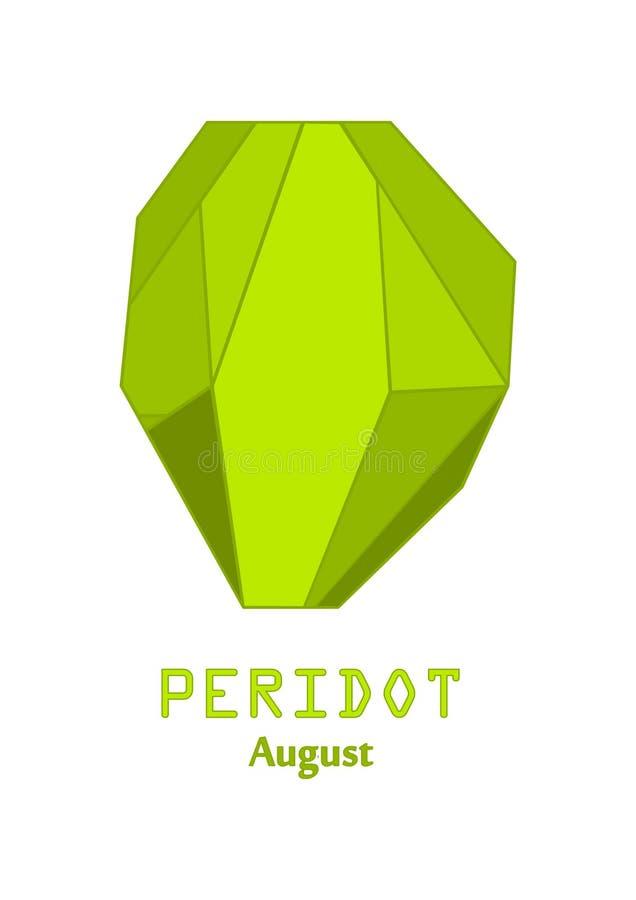 Gemme verte de peridot, cristal vert pomme, gemmes et vecteur en cristal minéral, pierre gemme de pierre porte-bonheur d'août illustration stock
