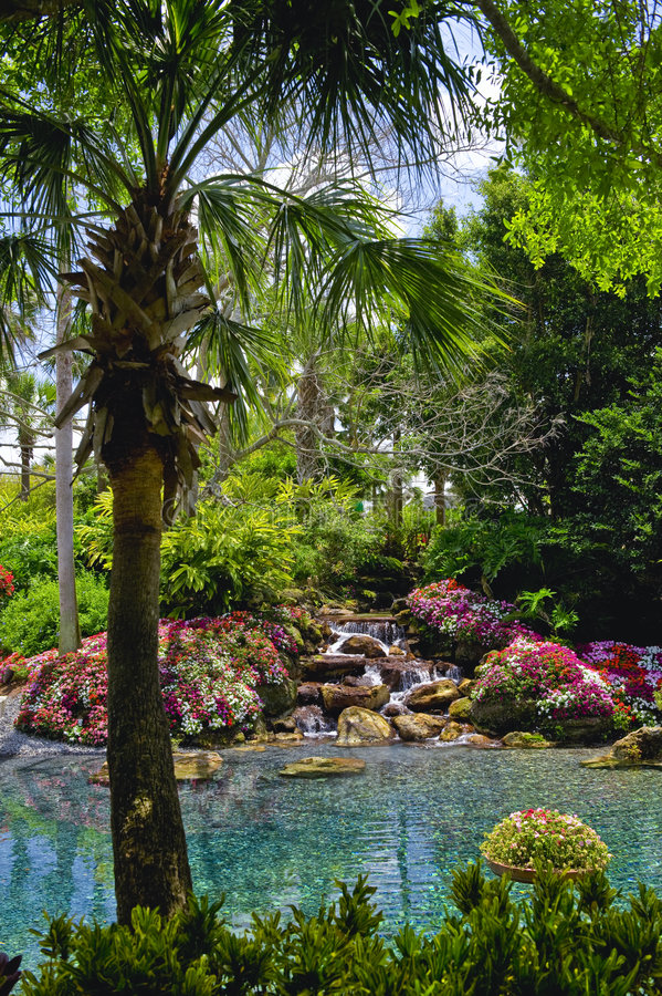 Gemodelleerde tropische tuin stock foto's