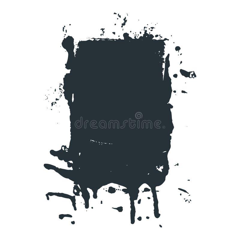 Gemorste zwarte inkt of verfvlek in vectorgrungestijl vector illustratie