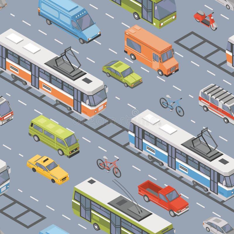Gemotoriseerde voertuigen van diverse types die op weg drijven - auto, autoped, bus, tram, minivan trolleybus, pick-up auto vector illustratie