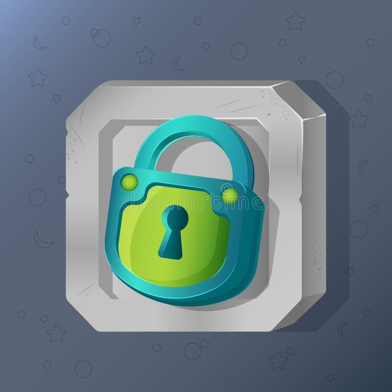Gemowa ikona kłódka w kreskówka stylu Jaskrawy projekt dla app interfejsu użytkownika Kędziorka dla niespodzianki, chującego lub  ilustracji