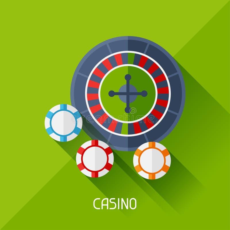 Gemowa ilustracja z kasynem w płaskim projekta stylu royalty ilustracja