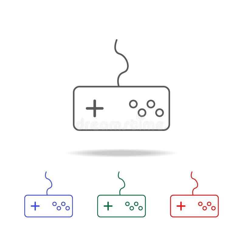 Gemowa kontroler linii ikona Elementy w wielo- barwionych ikonach dla mobilnych pojęcia i sieci apps Ikony dla strony internetowe royalty ilustracja