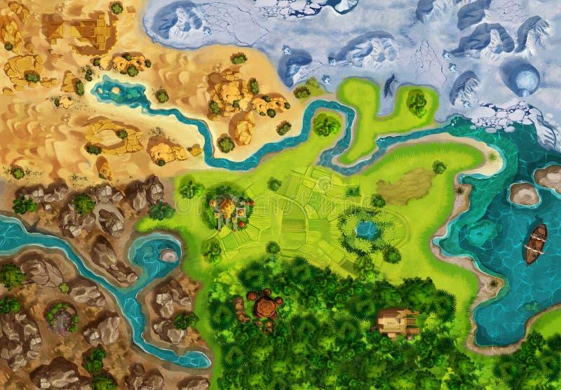 Gemowa mapa, gry deska, Odgórny widok royalty ilustracja