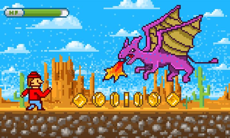 Gemowa scena Piksel sztuki 8 kawałka przedmioty Platformer wideo interfejs Retro lokacja Chmury, góry, smok i charakter, royalty ilustracja
