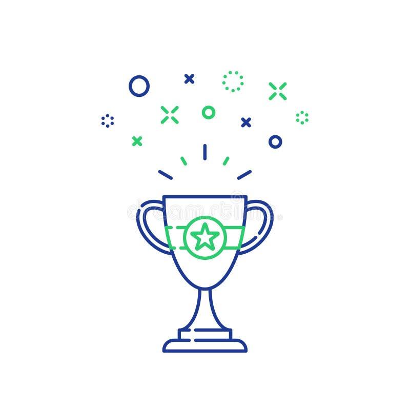 Gemowa trofeum linii ikona, mistrz nagroda, pierwszy miejsce nagroda, konkurs czara nagroda royalty ilustracja