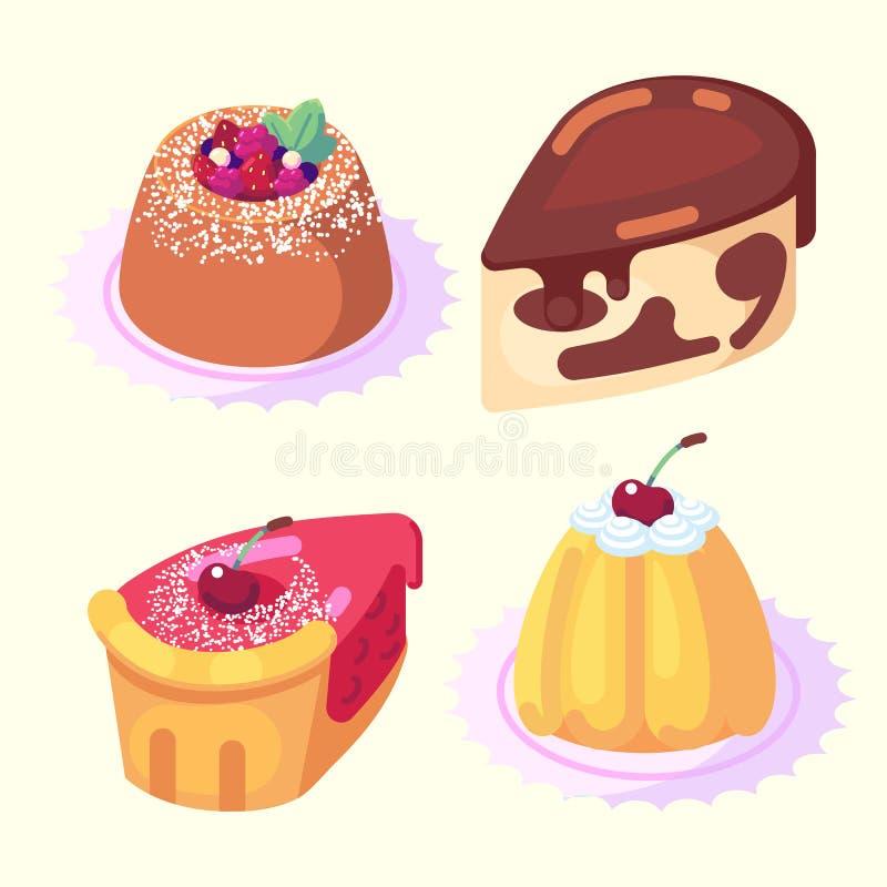 Gemowe ikony ustawiają jedzenie dla wysokich zdrowie pozioma ciasta słodkich wyśmienicie deserów isometric wektorowej ikony ustaw ilustracji
