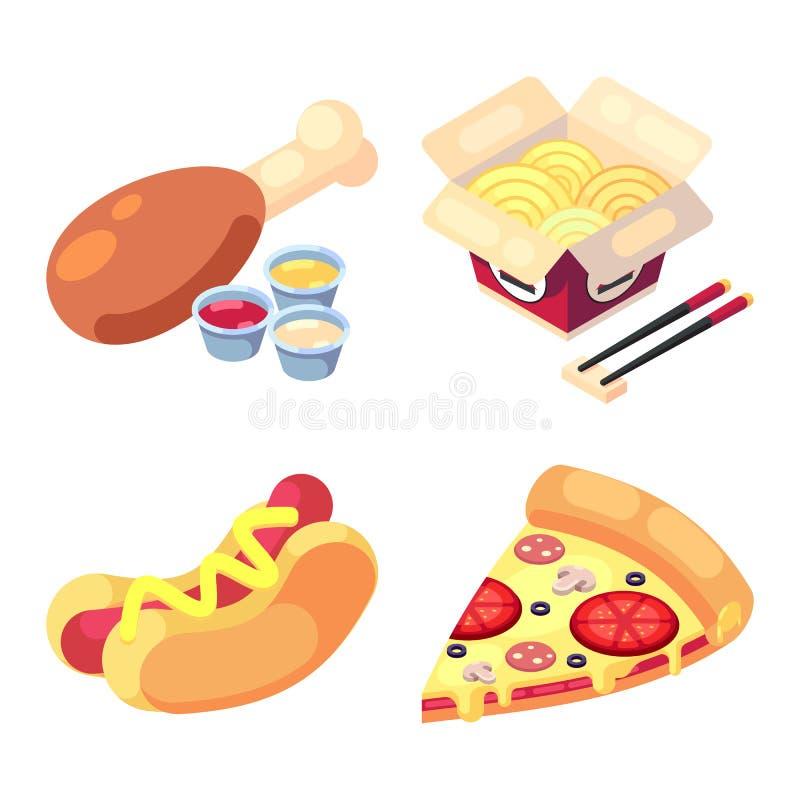 Gemowe ikony ustawiają jedzenie dla wysokiego zdrowie pozioma przekąsek wyśmienicie fasta food, pizza, hot dog, kluski, kurczak n royalty ilustracja