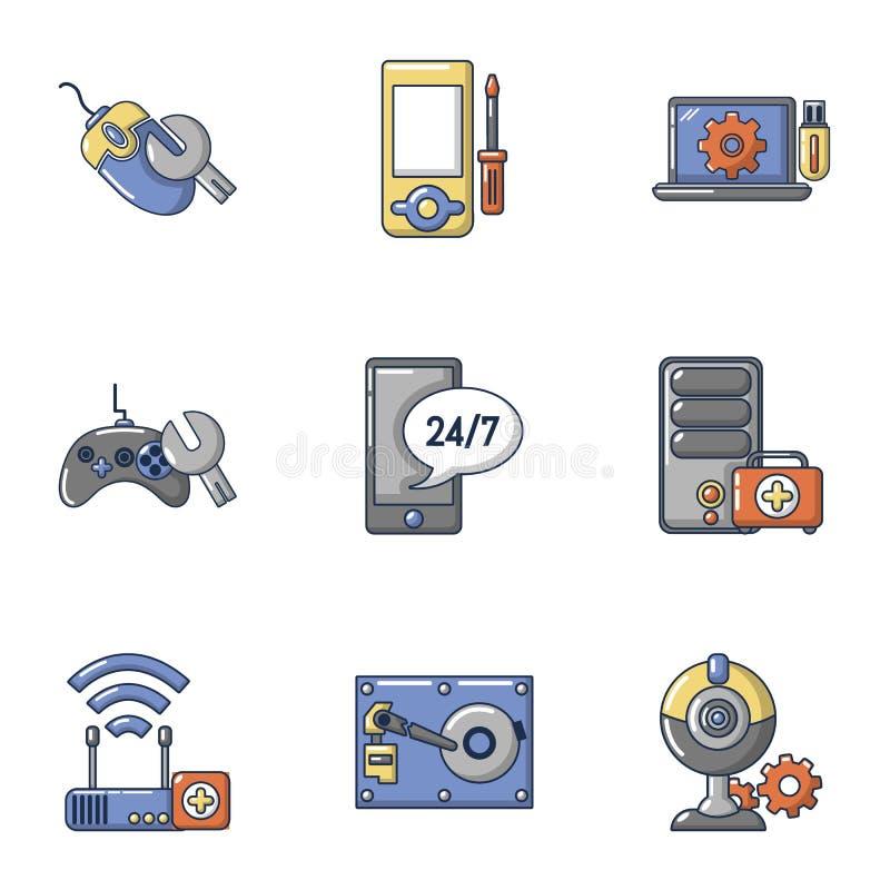 Gemowe konsoli ikony ustawiać, kreskówka styl royalty ilustracja