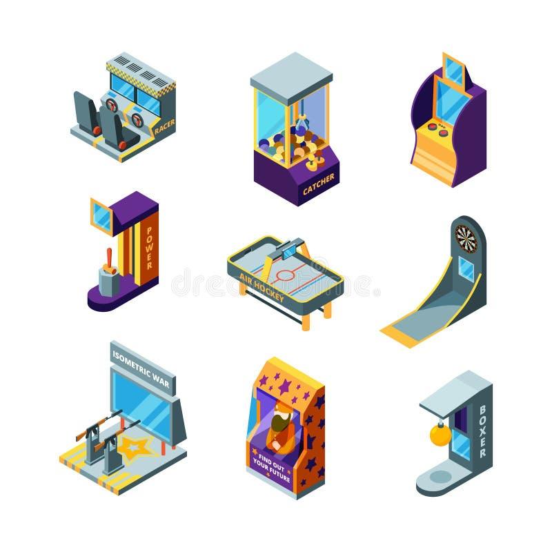 Gemowe maszyny Park rozrywki zabawa dla dzieciak arkady pinball bieżnej przejażdżki automat gemowego wektoru isometric ilustracja wektor