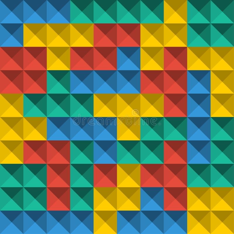 Gemowe Tetris piksla cegły Bezszwowy deseniowy tło Colorfull gry tło ilustracja wektor