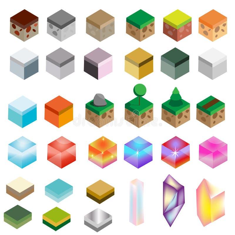 Gemowe wartości Isometric tekstur cegły i magiczni kryształy Krajobraz, skała, woda, magiczni projektów elementy dla hazardu inte royalty ilustracja