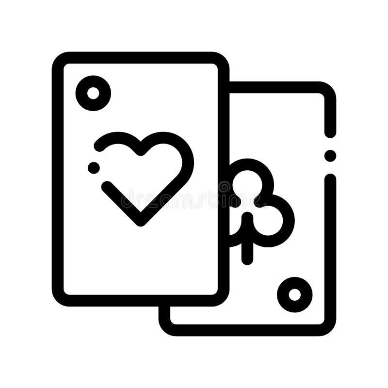 Gemowego element kart wektoru linii znaka Cienka ikona royalty ilustracja