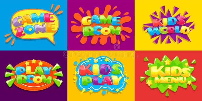 Gemowego pokoju plakaty Zabawa żartuje playroom i żartuje menu wektorowego ilustracyjnego tło, gry bawić się strefę dla dzieciaka ilustracja wektor