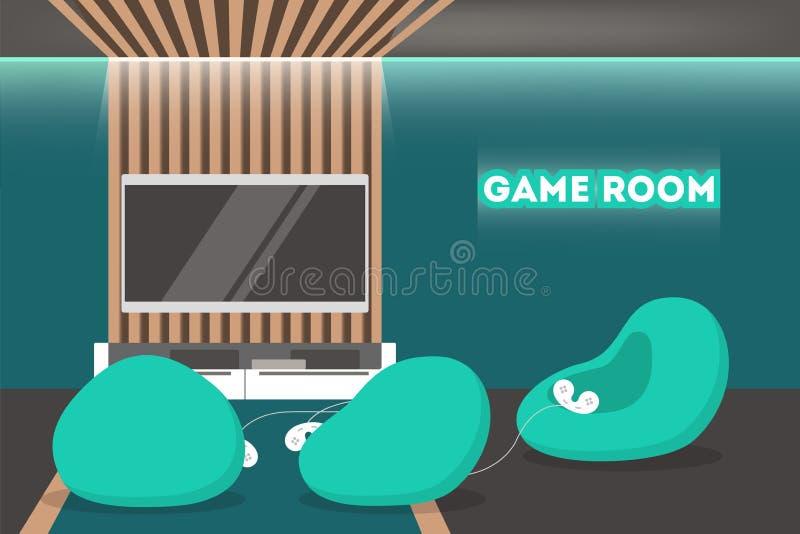 Gemowego pokoju wnętrze Cyfrowej konsola, nowożytny meble ilustracja wektor