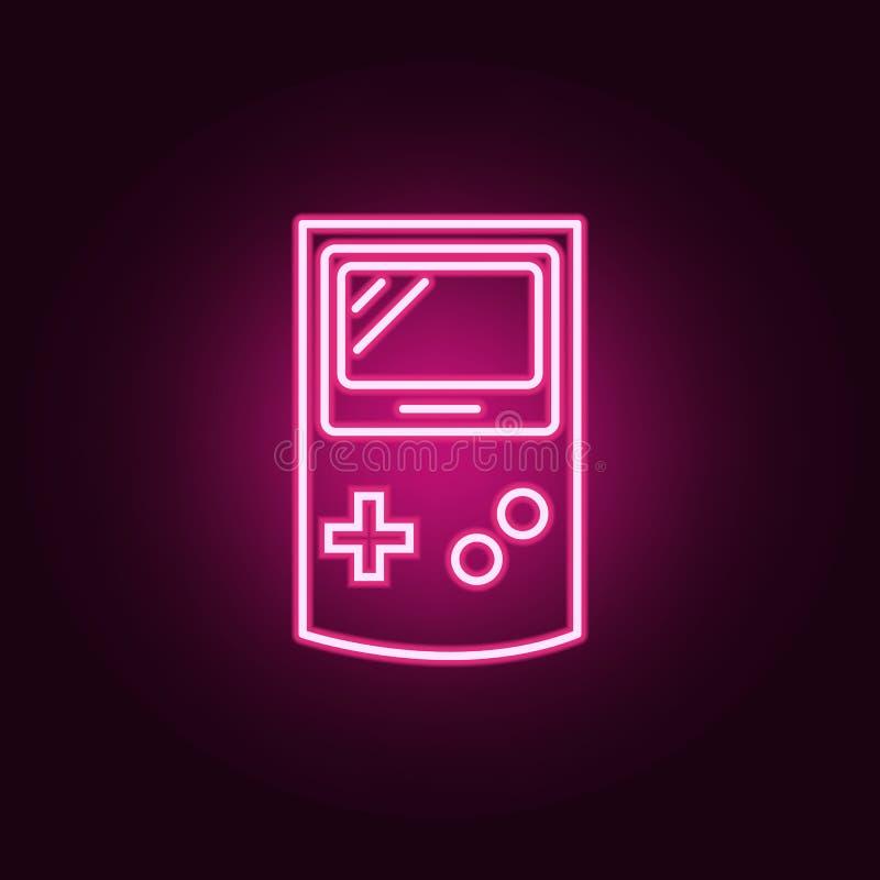 gemowej konsoli neonowa ikona Elementy sie? set Prosta ikona dla stron internetowych, sie? projekt, mobilny app, ewidencyjne graf ilustracja wektor