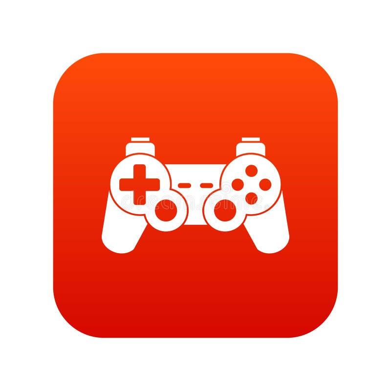Gemowej kontroler ikony cyfrowa czerwień ilustracji