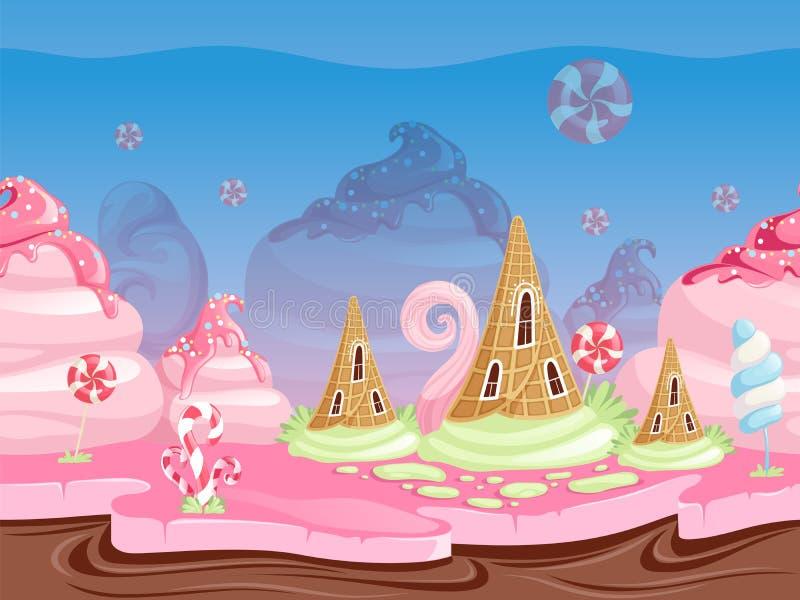 Gemowy fantazja krajobraz Bezszwowy tło z wyśmienicie deserowego karmowego cukierku karmelu czekoladowymi ciastkami wektorowymi ilustracja wektor