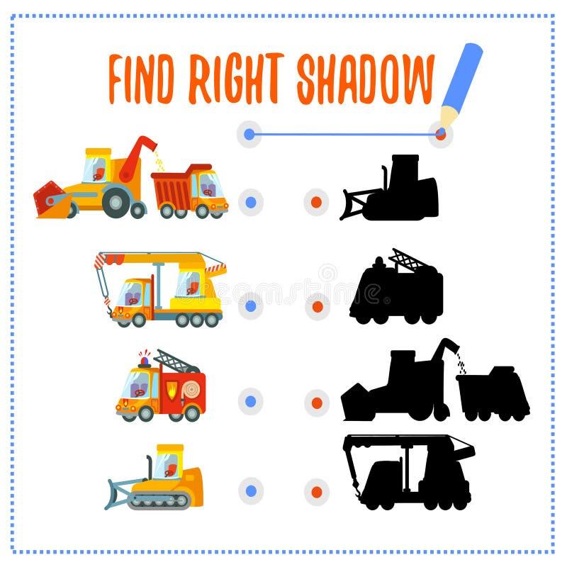 Gemowy pojęcie z dopasowywanie samochodami i ich cieniami ilustracji