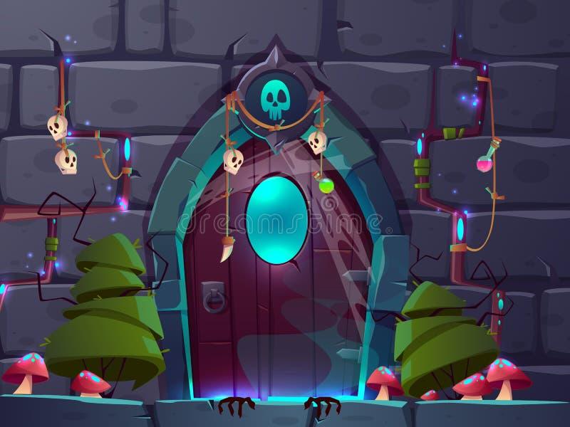 Gemowy tło z magicznym drzwi kreskówki wektorem royalty ilustracja