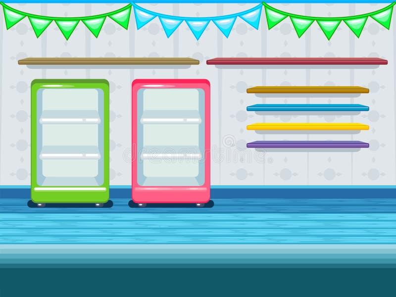 gemowy tło Sklep, sklepu spożywczego wnętrze ilustracji