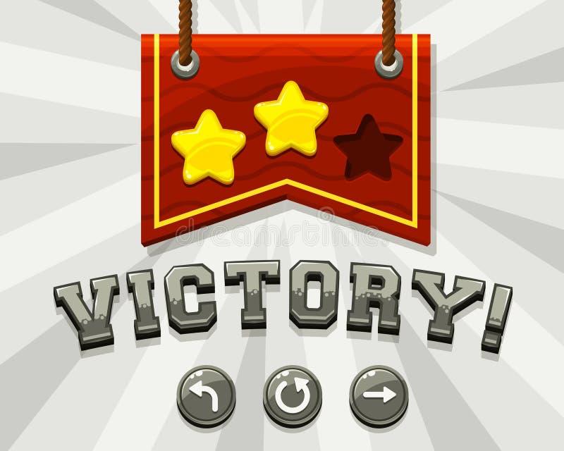 Gemowy zwycięstwo ekran royalty ilustracja