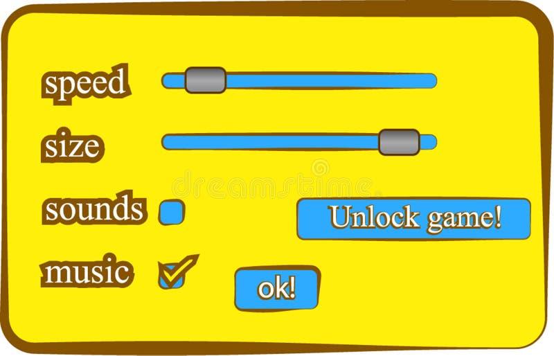 Gemowych gui położeń menu dźwięków prędkości wielkościowe muzyczne ślimacznicy i guziki royalty ilustracja