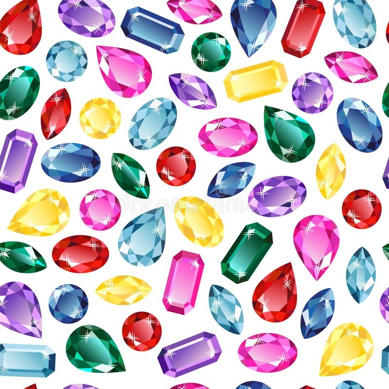 Gems background seamless pattern. Background of precious stones, emerald, diamond, ruby, sapphire, amethyst. Seamless pattern on white background, vector stock illustration