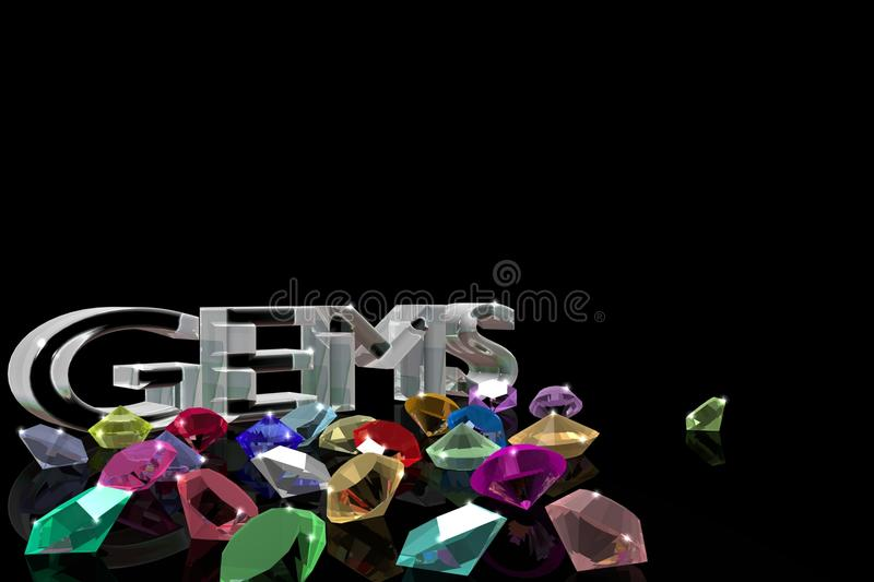The gems on the black mirror background. royalty free illustration