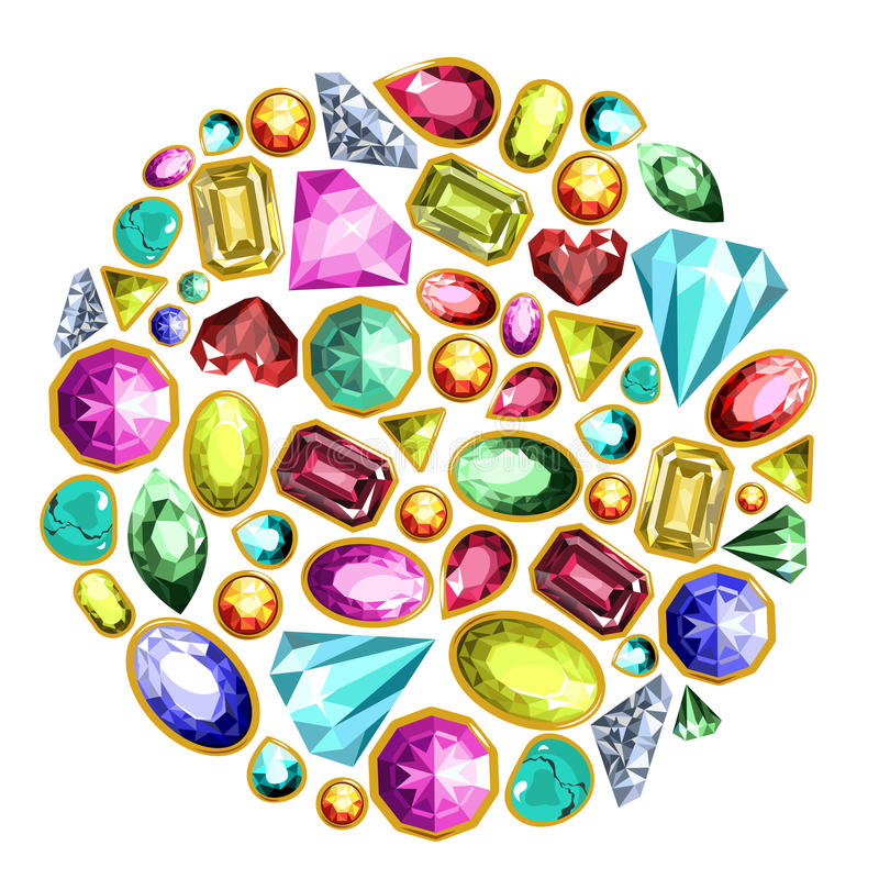 Gems and diamonds vector isolated icons set. Gems and diamonds or jewel gemstones. Vector isolated icons set of shiny precious emerald, sapphire and ruby crystal royalty free illustration